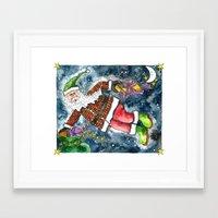 santa Framed Art Prints featuring Santa by Shelley Ylst Art