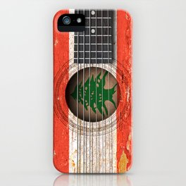 Old Vintage Acoustic Guitar with Lebanese Flag iPhone Case
