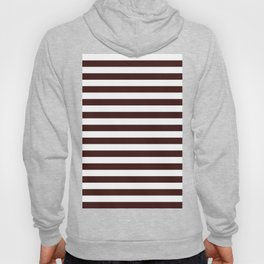 Narrow Horizontal Stripes - White and Dark Sienna Brown Hoody
