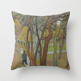 The Garden of Saint Paul's Hospital ('Leaf-Fall') Throw Pillow