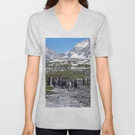 King Penguins, Snow and Glaciers Unisex V-Neck