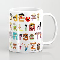sesame street Mugs featuring Sesame Street Alphabet by Mike Boon