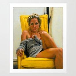 Chauncey Jacks on a Yellow Chair Art Print
