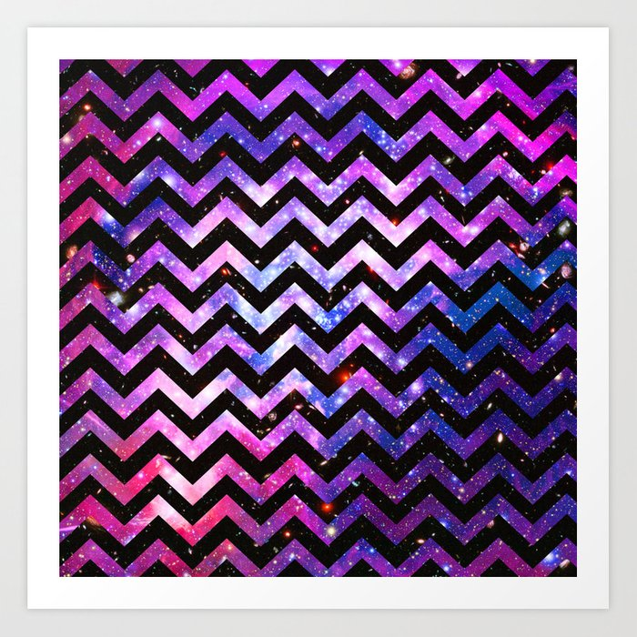 Girly Chevron Pattern Cute Pink Teal Nebula Galaxy Art Print By Extraordinary Cheveron Pattern