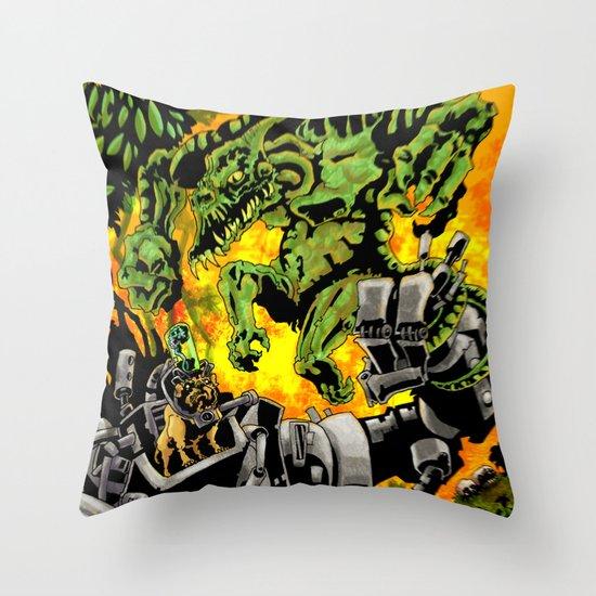 Doktor Steampug Versus Gorillizard! Throw Pillow