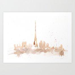 Watercolor landscape illustration_Paris Art Print