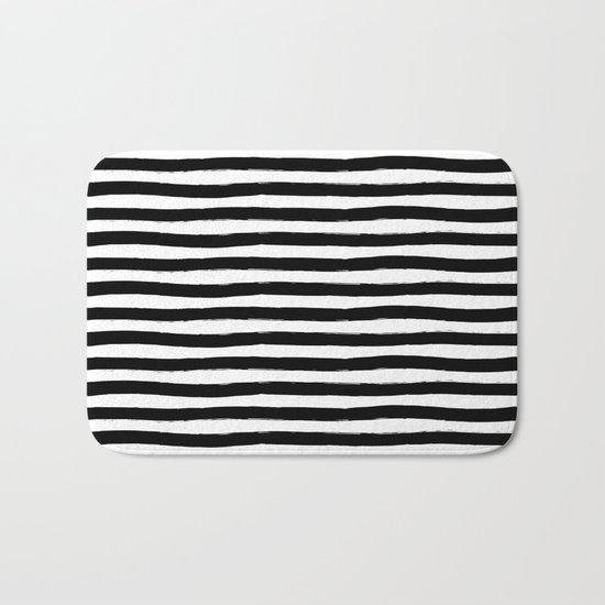 Black And White Hand Drawn Horizontal Stripes Bath Mat