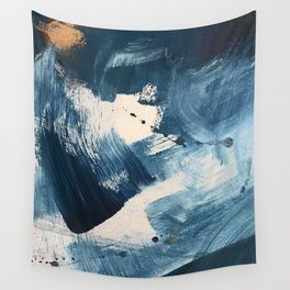 Against the Current: A bold, minimal abstract acrylic piece in blue, white and gold Wall Tapestry