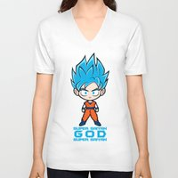 goku V-neck T-shirts featuring Goku SSGSS by LoonyLand