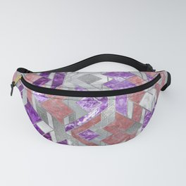 Geometric Amethyst, Rose quartz and Mother of pearl Fanny Pack