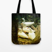 duck Tote Bags featuring duck by gzm_guvenc