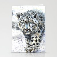 snow leopard Stationery Cards featuring snow leopard by KOSTART