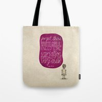 childish gambino Tote Bags featuring Childish Gambino; What Rappers Say Series 4/8 by Jaron Lionel