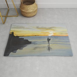 Dog Beach Surfer Rug