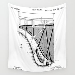 Steinway Piano Patent - Piano Player Art - Black And White Wall Tapestry