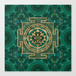 Sri Yantra  / Sri Chakra Malachite and gold Canvas Print