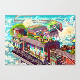 Houses on the Stopping Train  Canvas Print