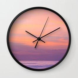 Purple Dreams - Ocean Sunset, Landscape, Scenery, Beautiful Purple Orange Yellow Wall Clock