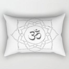 White Lotus Flower Om Symbol Drawing Rectangular Pillow