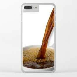 Coffee Pouring Into White Mug Clear iPhone Case