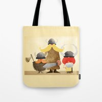 vikings Tote Bags featuring Vikings by Parin Heidari