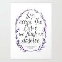 the perks of being a wallflower Art Prints featuring The Perks of Being a Wallflower quote by IndigoEleven