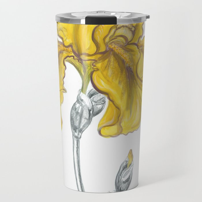 iris 02 Botanical Flower * Yellow Bearded Iris Travel Mug
