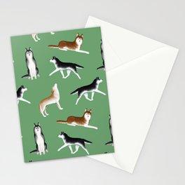 Husky Pattern (Green Background) Stationery Cards