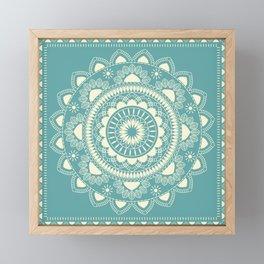 Boho Indian medallion Turquoise Framed Mini Art Print