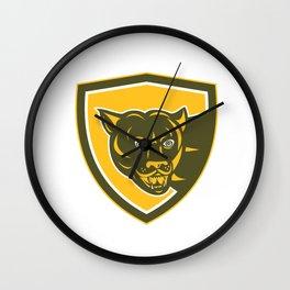 Puma Mountain Lion Head Prowl Shield Retro Wall Clock