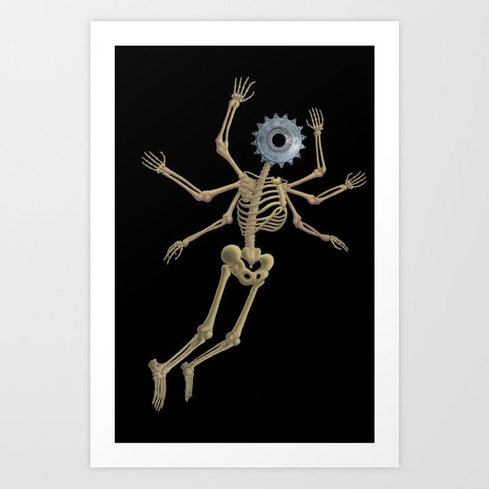 GEAR HEAD SKELETON Art Print