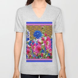 Abstracted Blue & Pink Flowers on Oriental Patterns Unisex V-Neck