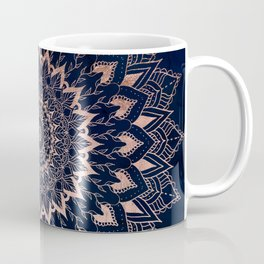 Boho rose gold floral mandala on navy blue watercolor Coffee Mug