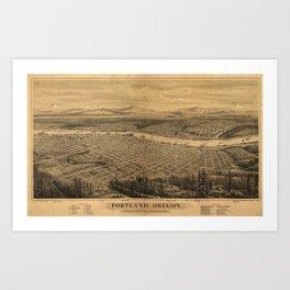 Vintage Pictorial Map of Portland Oregon (1879) Art Print