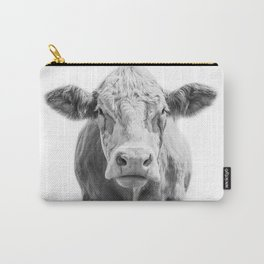 Highland Cow Portrait | Animal Photography | Black and White | Art Print Minimalism | Farm Animal Carry-All Pouch