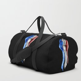 France strength and unity / 3D render of raised fist covered with French tricolour flag Duffle Bag