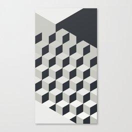 Gradient Cubes – Ebony Black / Warm Gray Abstract Print Canvas Print
