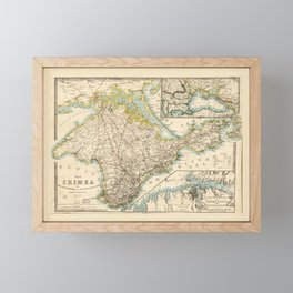 The Crimea (Ukraine) Sevastopol Region Map circa 1855 Framed Mini Art Print