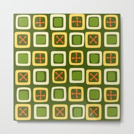 Mid Century Modern Squares Lines Avocado Green Metal Print