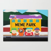 meme Canvas Prints featuring Meme Park by Milan Harangozó