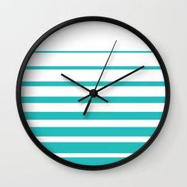 Painted Stripes in Robin's Egg Blue on White  #society6 #decor #buyart #artprint Wall Clock