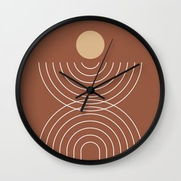 Mid Century Modern Geometric 8 (Terracotta and beige) Wall Clock