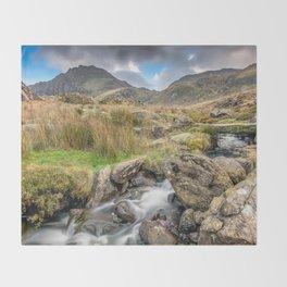 Tryfan Mountain River Throw Blanket
