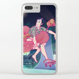 侍スケートボーダー(Samurai Skateboarder) Clear iPhone Case