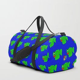 Friendly Green Fish Duffle Bag