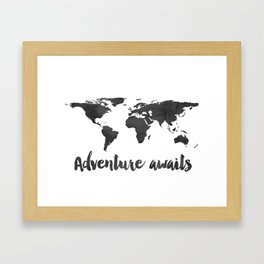 Printable Adventure Awaits World Map Poster, Navy Travel Quote Print, JPG File, Instant Download Framed Art Print