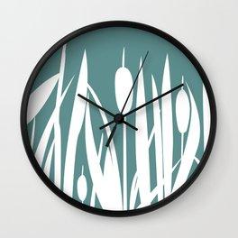 Bush of Swamp Reed on a Lake Wall Clock