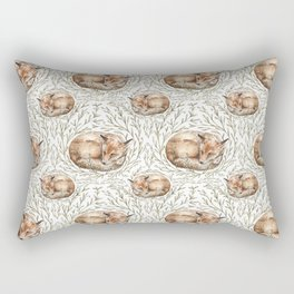 Sleeping foxes with leaves Rectangular Pillow