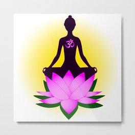 Yoga meditation in pink lotus flower Metal Print