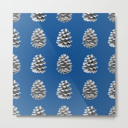 Monochrome Pine Cones Winter Blue Metal Print